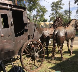 metal horses & stagecoach